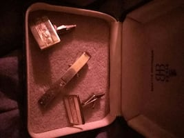 Birks tie clip and cuff links