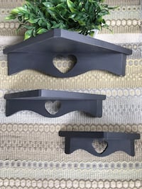 Set of 3 pine wood shelves painted grey with heart cutout Bradford West Gwillimbury, L3Z 0V9