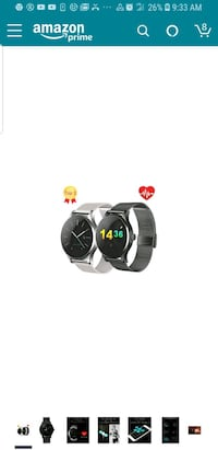 Smart Watch for iOS and Android (Black)   32 mi
