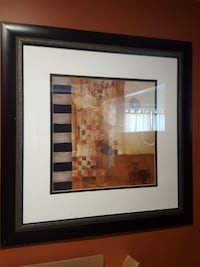 brown and white abstract painting frame