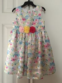 gray and multicolored floral sleeveless flare dress size 4t-5t