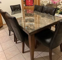 Marble Kitchen Table with 6 Chairs and Glass Top