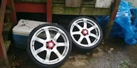4 rims and 3 tires.. 5 spoke Acura tires