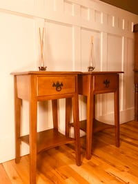 Matching Solid Maple Mid Century Nightstands - Lamp - End Tables