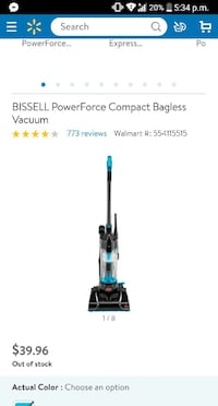 black and blue Bissell upright vacuum cleaner screenshot El Paso, 79936