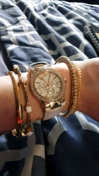 round gold-colored chronograph watch with link bracelet Spruce Grove, T7X 0C8