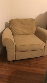 Brown fabric sofa chair with ottoman Sunny Isles Beach