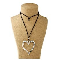 NEW Large abstract heart pendant with long suede leather thong. Oshawa, L1J 8N4