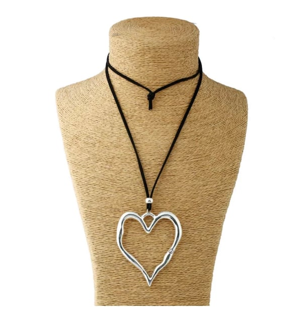 NEW Large abstract heart pendant with long suede leather thong eaa395d8-f867-49de-8a44-1696d99310cb