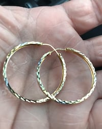 New.  14k yellow gold hoop earrings.  1.35 inches.  Yellow gold, white gold and rose gold.  Matches all other gold jewelry.  Solid gold.  Great gift for the woman in your life for the new year, Valentine's  or birthday.   Each comes with a beautiful box.  Corona, 92882