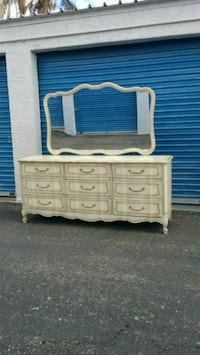 9 DRAWER FRENCH PROVINCIAL DRESSER AND MIRROR