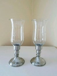 Leonard Pewter Candlestick Holders Hurricane Glass