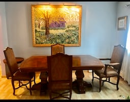 Table and hutch ,Tuscany Pedestal Dining table