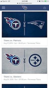 4 Titans Tickets Nashville, 37013