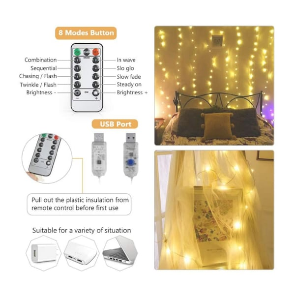 NIB 300 LED curtain lights with remote 1