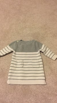 white and gray knitted dress