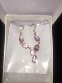 pair of gold-colored purple gemstone hook earrings Edmonton, T5P 2B1