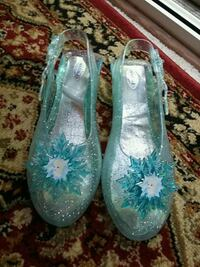 pair of teal floral slip on shoes Alexandria