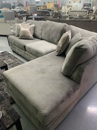 Suede grey sofa with chase an swivel chair