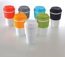 Brand new. Porcelain mug with silicone lid.(premium quality)
