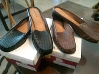 Two pairs of black & brown leather slip on shoes Chesapeake, 23324