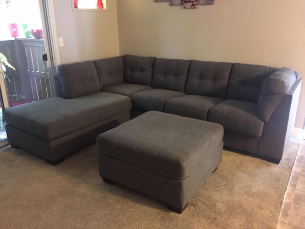 Magnificent Brand New 2Pc Grey Sectional With Oversized Ottoman 1089 No Credit Check Finance Available Short Links Chair Design For Home Short Linksinfo