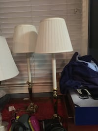 two white pedestal lamp with white empire lampshades Brinklow, 20862