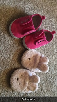 toddler's two pairs of pink and brown shoes