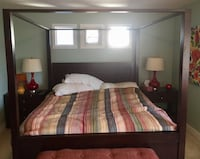 brown wooden bed frame with mattress Surrey, V3S 4S6