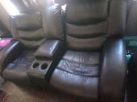 Electric Recliner couch black leather sofa  Edmonton, T6H 0S3
