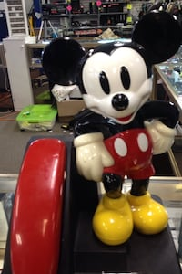 red and black mickey mouse telephone