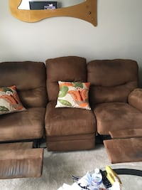 Brown micro suede reclining sofa. Super comfy reclines perfectly   Gaithersburg, 20877