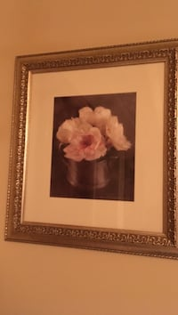 white flowers still life painting with gray wooden frame