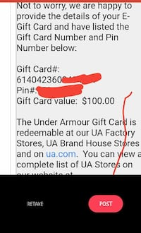 100.00 under armor gift card