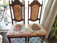 Two antique hand carved wooden velvet chairs Toronto, M6S