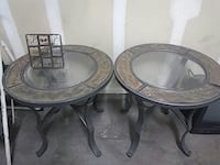 2 grey and brown round clear glass top side tables Las Vegas, 89120