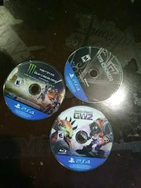 three assorted PS4 game discs Harvey