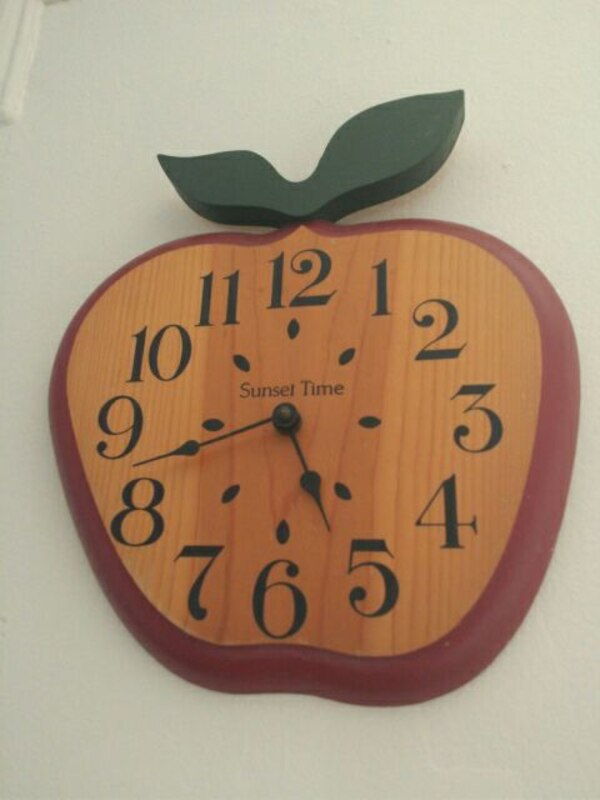 Used Sunset Time Apple Shape Wooden Wall Clock For Sale In Passaic