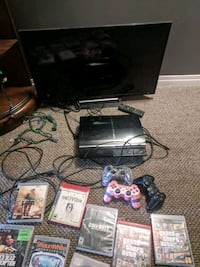 PS3 with 10 games.  3 controllers and tv.