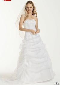 Organza Draped Wedding Dress with Beaded Lace DAVID'S BRIDAL : Piscataway, 08854