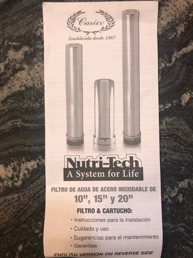 Used Carico Nutri Tech Water Filter in