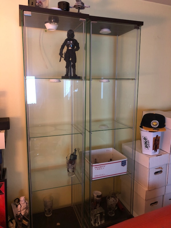 Used Ikea Detolf Display Cases Brownblack For Sale In San Mateo