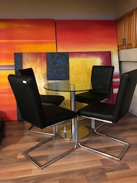 4 New black leatherette dining chairs Markham, L3P 7N3