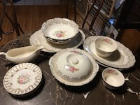 White and pink floral ceramic dinnerware set Falling Waters, 25419