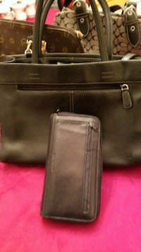 black leather tote bag and long-zip wallet Vancouver, 98683