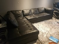 tufted black leather sectional sofa