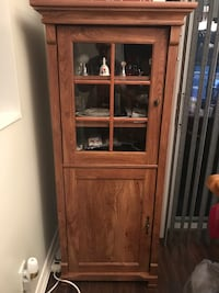 Brown wooden framed glass display cabinet Barrie, L4N 9P8