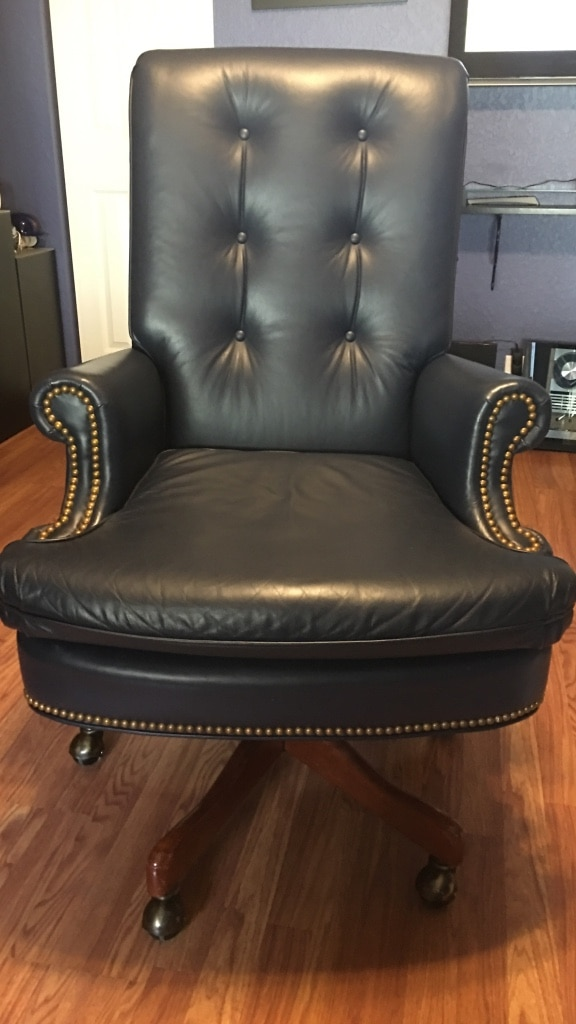 Blue Leather Reclining Executive Office Chair