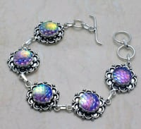 Mermaid Rainbow Fire Carved Topaz Sterling Silver Bracelet *Wil Albuquerque, 87114