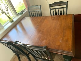 Dining Table with 4 Chairs and a Red Velvet Chaise Lounge Chair